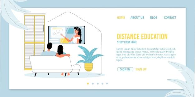 Educação a distância, estudo em casa. casal de mulher homem assistindo vídeo tutorial na tv juntos.