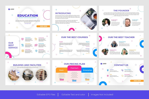 Educação apresentação em powerpoint design de slides