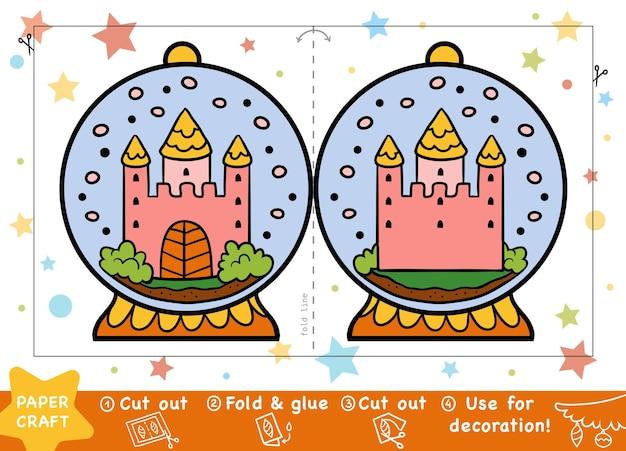 Educação artesanato de natal em papel para crianças bola de neve com um castelo