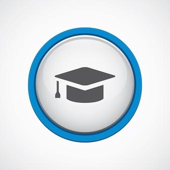 Educação brilhante com ícone de traço azul, círculo, isolado