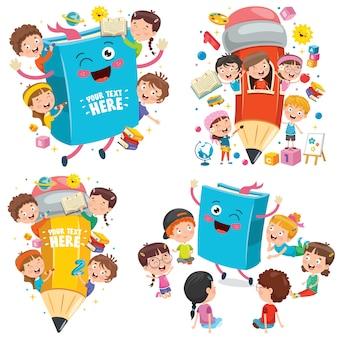 Educação com crianças engraçadas