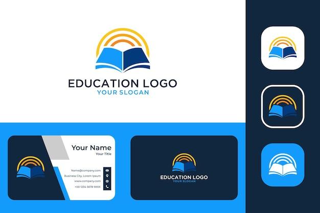 Educação com livro e design de logotipo sol e cartão de visita