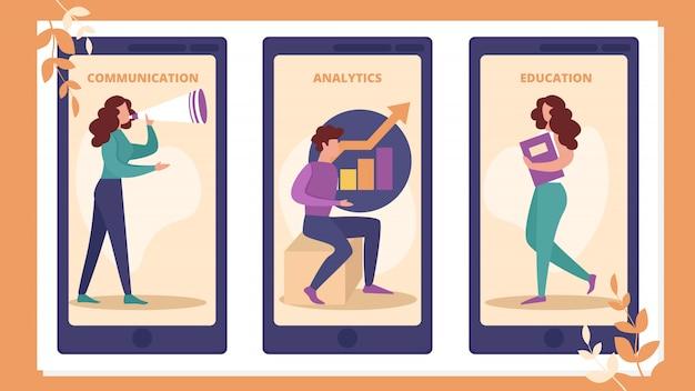 Educação, comunicação, aplicativo móvel do analytics