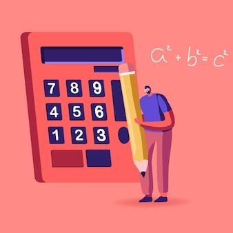 Educação, conhecimento e conceito de ciências matemáticas. ilustração de desenho animado