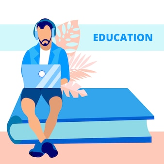 Educação, conhecimento ganhando banner vector plana