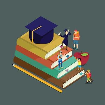 Educação crescer com conceito isométrico