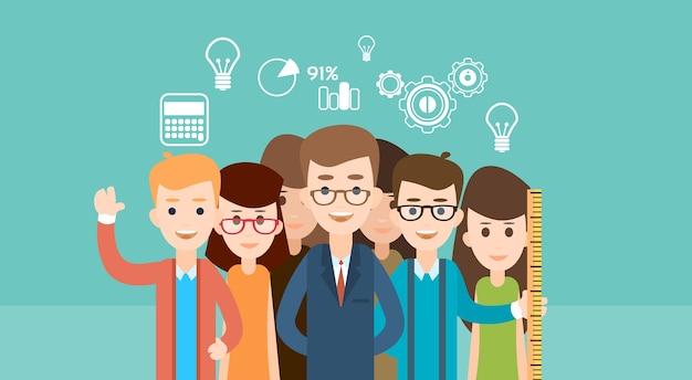 Educação de crianças de escola de grupo de estudante