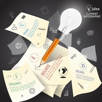 Educação de idéia de lápis de bulbo e infográfico de negócios