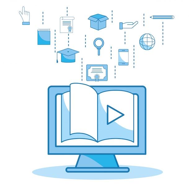 Educação de vídeo de livro de site de computador