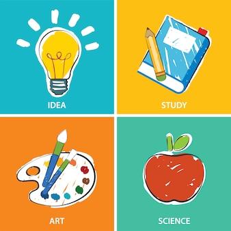 Educação de volta à ilustração da escola