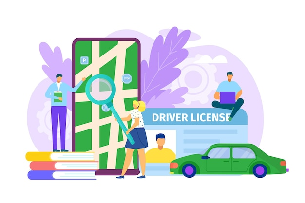 Educação do motorista para ilustração de carteira plana