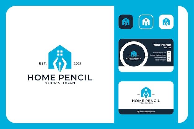 Educação doméstica com design de logotipo a lápis e cartão de visita