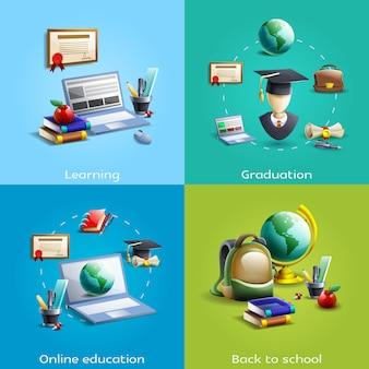 Educação e aprendizagem conjunto de ícones