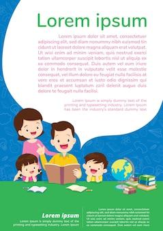 Educação e aprendizagem, família e filhos pensando ideias