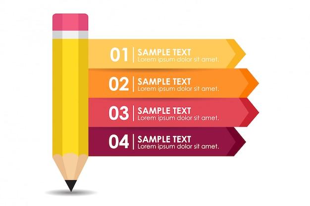 Educação e aprendizagem infográfico com um lápis