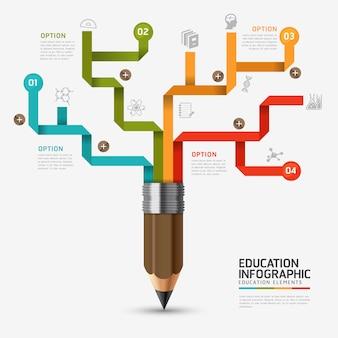 Educação e aprendizagem infográfico lápis passo diagrama