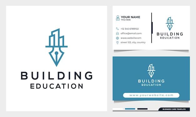 Educação e construção de conceito de design de logotipo com modelo de cartão de visita