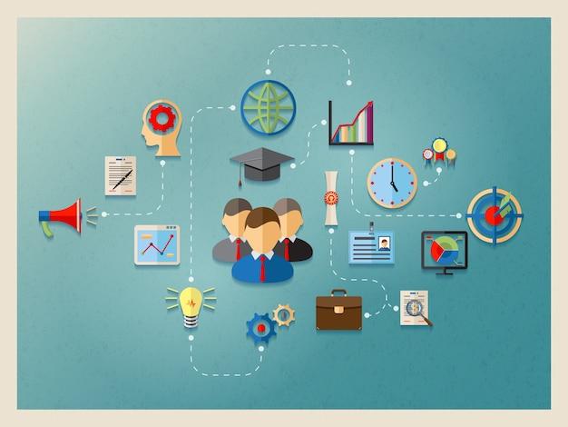 Educação e gestão na web, modelo de design de elemento de infográficos