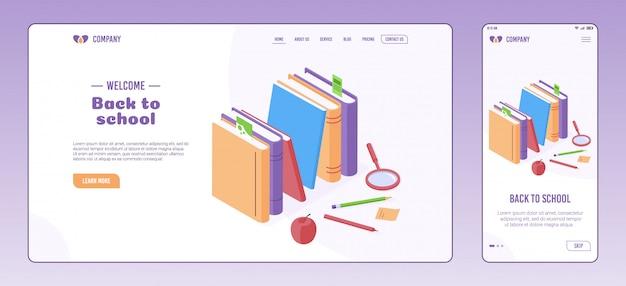 Educação e volta às aulas conceito isométrico na página da web e modelo de tela de integração.