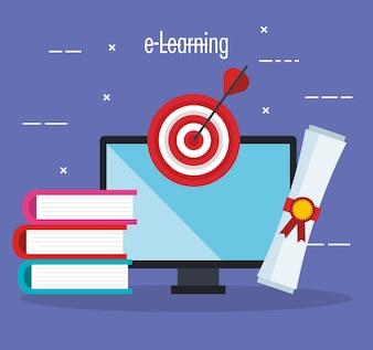 Educação eletrônica com área de trabalho do computador