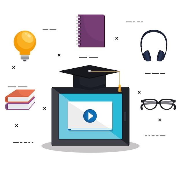 Educação eletrônica com design de ilustração vetorial tablet