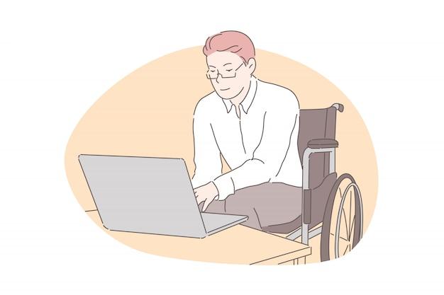 Educação em casa, trabalho remoto, conceito de acessibilidade