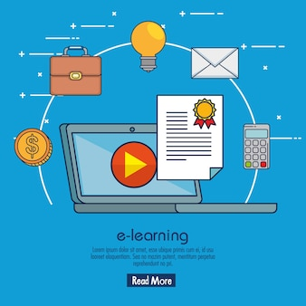 Educação em linha com laptop