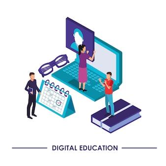 Educação em tecnologia de linha com design de ilustração vetorial de laptop