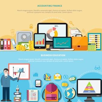 Educação empresarial e banners de finanças contabilidade