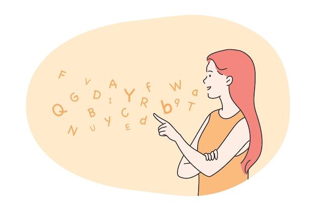 Educação, ensino, conceito de terapia da fala.