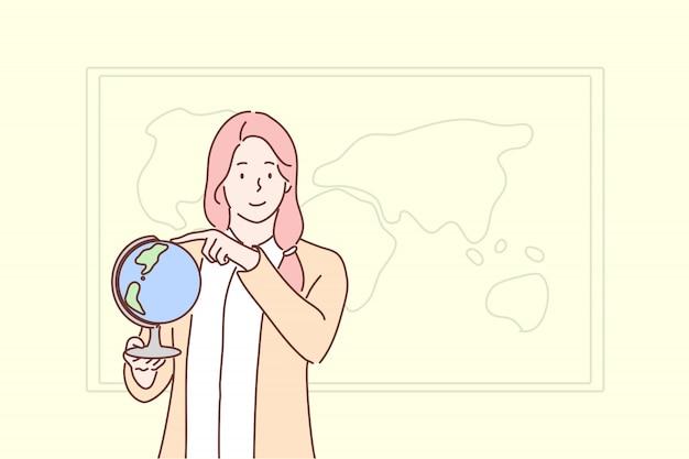 Educação, ensino, geografia, conceito do globo