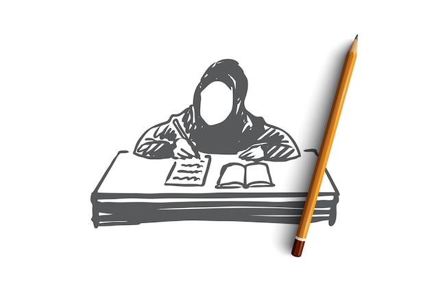 Educação, escola, aprendizagem, conceito de criança árabe, muçulmano. mão desenhada menina muçulmana aprendendo com o esboço do conceito de livro.