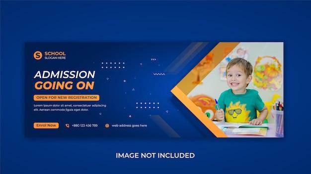 Educação escolar de crianças promoção de admissão mídia social modelo de capa do facebook banner da web