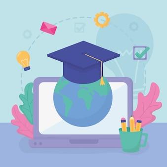 Educação escolar mundial para laptop on-line