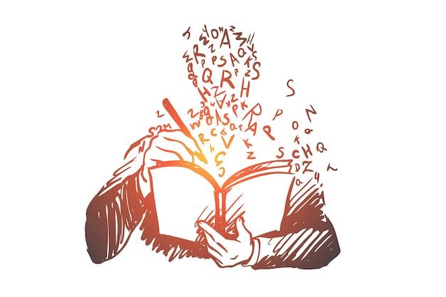 Educação, estudo, livro, aluno, conceito de conhecimento. aluno de mão desenhada aprendendo com esboço do conceito de livro.