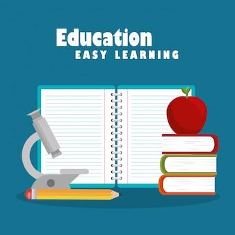 Educação fácil aprendizagem conjunto de ícones