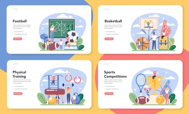 Educação física ou banner da web de classe de esporte escolar ou conjunto de páginas de destino.