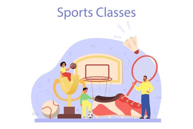 Educação física ou conceito de aula de esporte escolar
