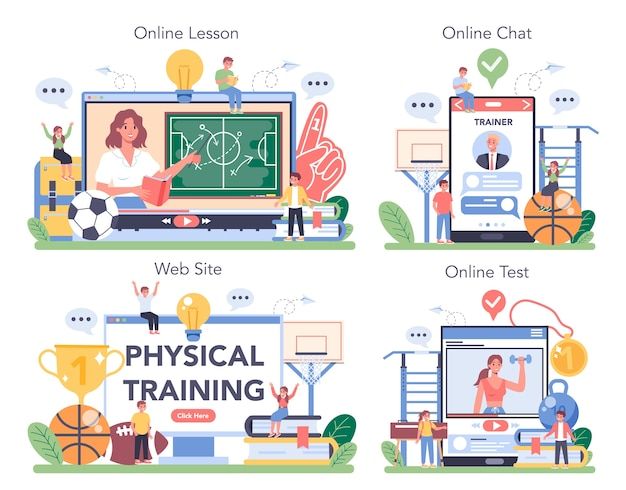 Educação física ou serviço online de classe de esporte escolar ou conjunto de plataformas.