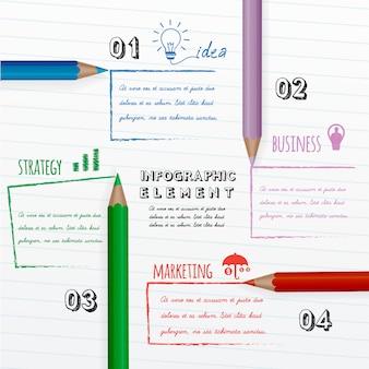 Educação infográfico com lápis coloridos em papel branco.