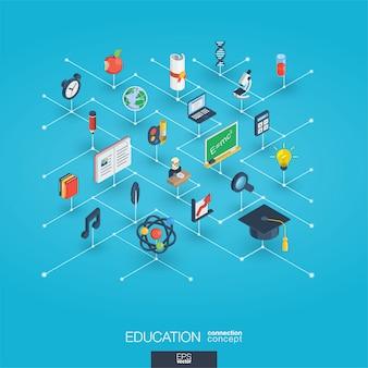 Educação integrada ícones web 3d. conceito isométrico de rede digital.