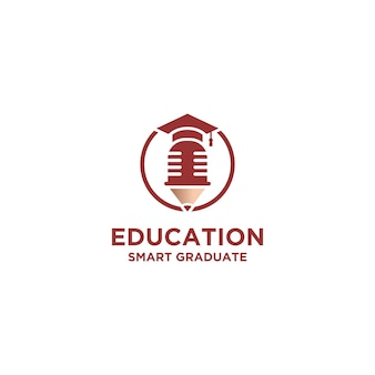 Educação inteligente com design de logotipo de chapéu