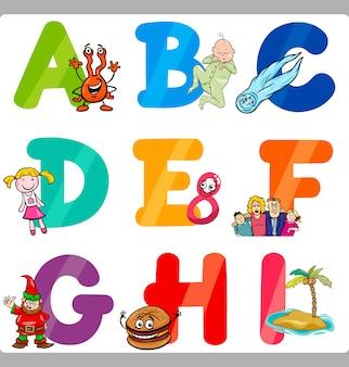 Educação letras de alfabeto de desenho animado para crianças