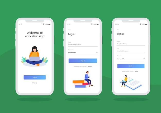 Educação-log-em-mobile-ui-kit-design