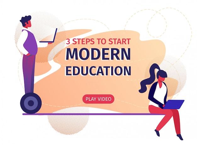Educação moderna 3 etapas para iniciar banner horizontal