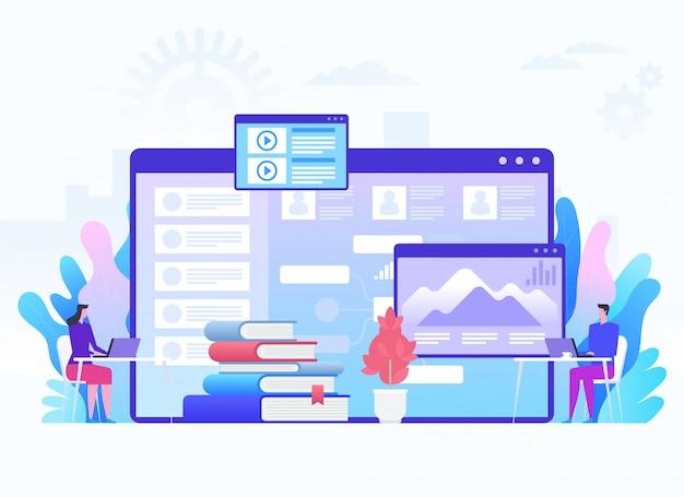 Educação moderna e o conceito de aprendizagem virtual. ilustração.