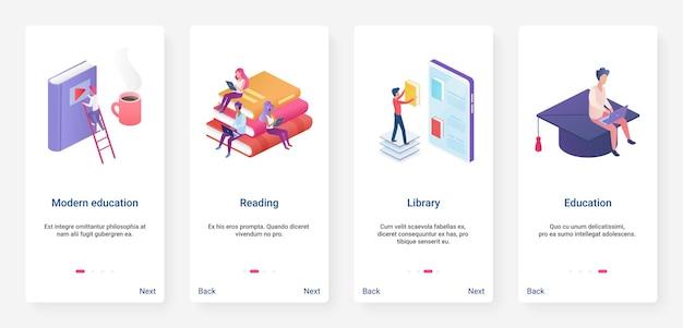 Educação moderna isométrica, ux de biblioteca on-line, conjunto de tela de página de aplicativo móvel de integração de iu