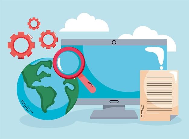 Educação na área de trabalho com o planeta terra