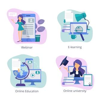Educação na internet. sala de aula na web para tutoriais a distância, cursos on-line e seminários on-line, ilustrações de treinamentos virtuais