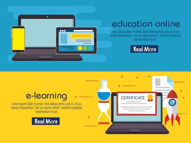 Educação na linha conjunto de ícones